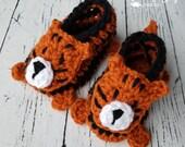 Crochet tiger baby booties pattern PDF instant download present gift craft shows MI designer