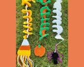 Crochet wind spinners patterns Halloween spider pumpkin candy corn PDF instant download