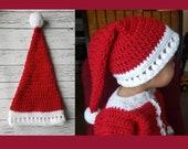 Crochet Family Santa hat pattern 0-3M, 3-6M, 6-12M, toddler, child, teen, adult 7 sizes PDF instant download MI designer