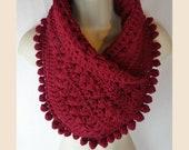 Crochet beaded pom neck warmer scarf pattern PDF instant download present gift craft shows MI designer