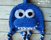 Shark crochet braided earflap hat newborn, baby, toddler, child, adult sizes PDF Pattern Instant Download gift present