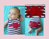 Crochet crab applique pattern PDF instant download MI designer