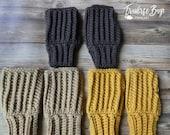 18 colors! Crochet fingerless gloves mittens textured adult textured gift present