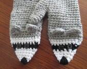 Crochet Adult Raccoon critter mitten pattern PDF Instant Download gray black white animal