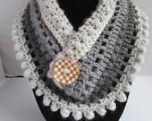 Mandela crochet pom pom cowl scarf pattern PDF instant download adult present gift craft shows neck warmer