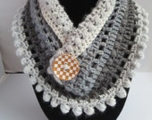 Crochet Mandala Pom Pom neckwarmer scarf pattern PDF instant download present gift craft shows MI designer