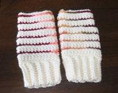 Crochet fingerless mittens stripe adult size gift present handmade MI designer