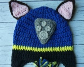 Crochet Chase Paw Patrol hat mitten set toddler child PDF Pattern Instant Download gift present