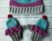 Toddler crochet cupcake mittens hat set Easy PDF Instant Download Gift Present Baby Shower