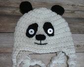 Panda child hat earflap beanie animal hat gift present handmade MI designer