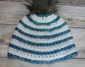Newborn striped beanie hat gift present handmade MI designer