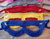 18 colors! Crochet super hero mask child toddler ddult photo prop baby shower gift present