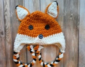 Crochet woodland fox hat braided earflap pattern baby toddler child adult PDF instant download present gift craft shows MI designer
