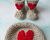 Newborn Baby Heart Hat Bootie Pattern Set Quick Simple Easy PDF Instant Download Gift Present Baby Shower