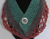 Crochet lacey Mandela cowl scarf pattern PDF instant download adult present gift craft shows neck warmer