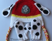 Crochet Marshall Paw Patrol hat mitten set toddler child PDF Pattern Instant Download gift present