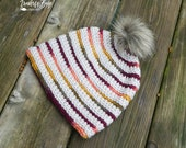 Crochet Top Down TC Beanie pattern PDF instant download striped hat MI designer