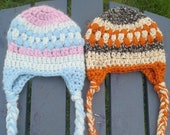 Crochet baby newborn braided earflap beanie PDF Pattern Instant Download gift present