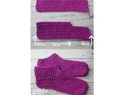 Crochet easy peasy adult slippers sizes 6-12 instant download PDF present gift craft shows
