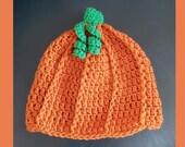 Crochet pumpkin hat baby toddler child adult Fall beanie