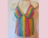 Crochet festival fringe tank top pattern bralette PDF instant download MI designer