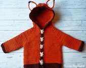 Fox baby crochet cardigan sweater pattern 0-3m, 3-6m, 6-9m, 9-12m PDF instant download present gift craft show baby gift shower MI designer