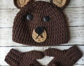 Child bear hat & mitten set crochet pattern PDF Instant Download Gift Present