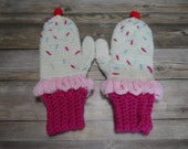Cupcake ice cream mittens adult fun novelty mittens gift present handmade MI designer
