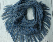 Crochet fringe infinity scarf pattern PDF Instant download Simple Easy Beginner
