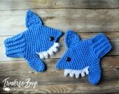 Crochet shark mitten pattern toddler child sizes MI designer