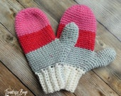 Adult crochet Color Block Mittens pattern faux knit style PDF instant download present gift craft shows MI designer