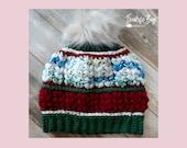 Crochet jolly beanie hat pattern adult size PDF instant download MI designer