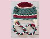Crochet earflap beanie pink, teal, white adult size gift present handmade MI designer