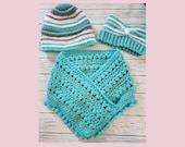Crochet turquoise headband hat neck warmer scarf 3 pc set lot adult size gift present handmade MI designer