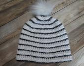 Striped beanie hat adult size gray white sparkle crochet gift present handmade MI designer