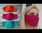 Crochet face mask with filter lining pocket pattern child and adult sizes PDF instant download MI designer