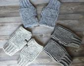 18 colors! Crochet fingerless gloves mittens adult textured gift present