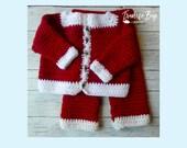 Crochet Baby Santa Suit Outfit Cardigan Pant set pattern newborn, 3-6M, 6-9M, 9-12M, 12-15M, 15-18M 6 sizes PDF instant download MI designer