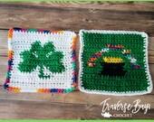 Shamrock St. Patrick's Day dishcloth potholder pattern pot of gold PDF instant download craft shows MI designer