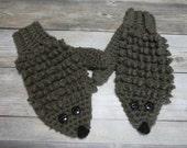 Hedgehog child mittens kid size fun novelty animal mittens gift present handmade MI designer