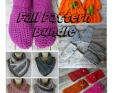 Crochet Fall pattern bundle slipper fingerless mitten pumpkin hat headband neck warmer scarf pattern craft shows
