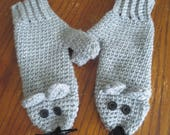 Crochet adult mouse animal critter mitten pattern PDF Instant download novelty gift present gray