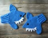 Crochet shark mittens toddler child boy girl present gift MI designer