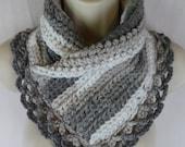 Crochet gray white lacey scarf neck warmer MI designer
