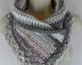 Crochet pink gray lacey scarf neck warmer MI designer