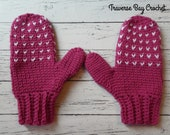 Adult crochet Snow Day Mittens pattern faux knit style PDF instant download present gift craft shows MI designer
