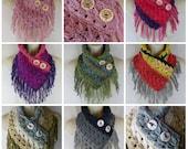 Crochet fringe textured scarf neck warmer MI designer