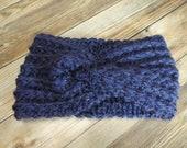 Crochet twist headband blue navy sparkle adult size gift present handmade MI designer