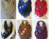 Crochet fringe triangle cowl scarf pattern PDF instant download present gift craft shows neck warmer MI designer