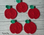 Crochet apple coasters Pattern PDF Instant Download Fall decor easy